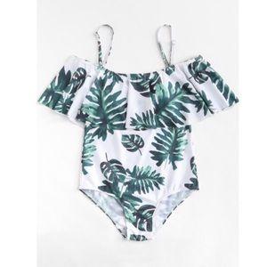 Palm Leaf Print One Piece Swimsuit